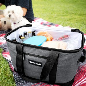 CleverMade SnapBasket Collapsible Cooler Tote Bag - 30 Liter