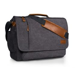 Estarer Laptop Messenger Shoulder Bag 17-Inch Canvas for Work