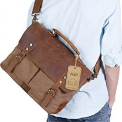 Lifewit Laptop Messenger Bag Vintage Genuine Leather Canvas Briefcase College Computer Satchel