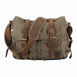 Sechunk Canvas Leather Crossbody Messenger Bag for Travel