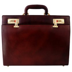Zint Men's Genuine Leather Slim Hard Briefcase