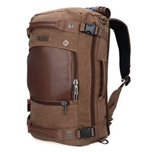 WITZMAN Men Travel Backpack Canvas Rucksack Vintage Duffel Bag